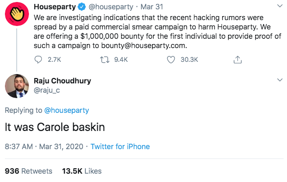 Houseparty hack bounty - it was Carole Baskin