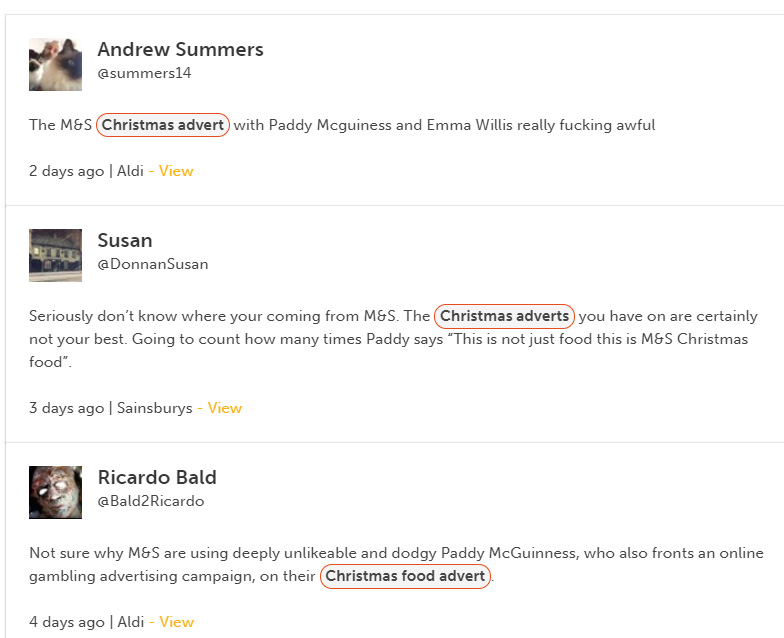 M&S Paddy McGuiness Christmas sentiment trend | Wordnerds