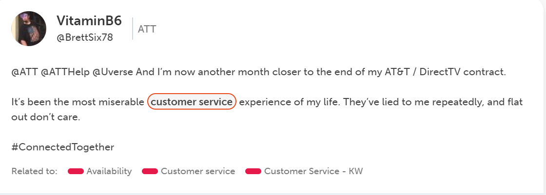 Customer tweet complaining about customer service of large US Telco